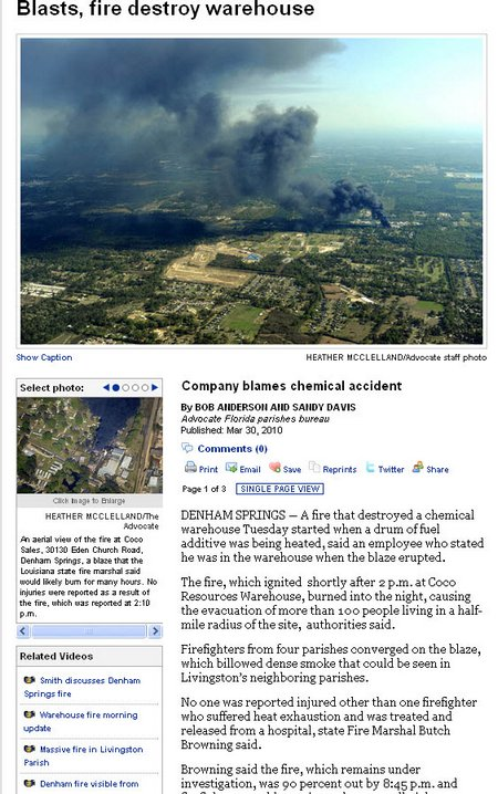 denham springs cocos chemical warehouse explosion