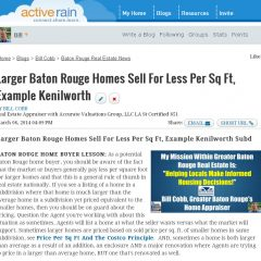 Larger Baton Rouge Homes Sell For Less Per Sq Ft, Kenilworth Subd